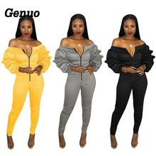 Genuo Women Sexy Club Jumpsuit Zipper Front Slash Neck Off Shoulder Long Puff Sleeve Thick Romper Fashion Casual Overalls
