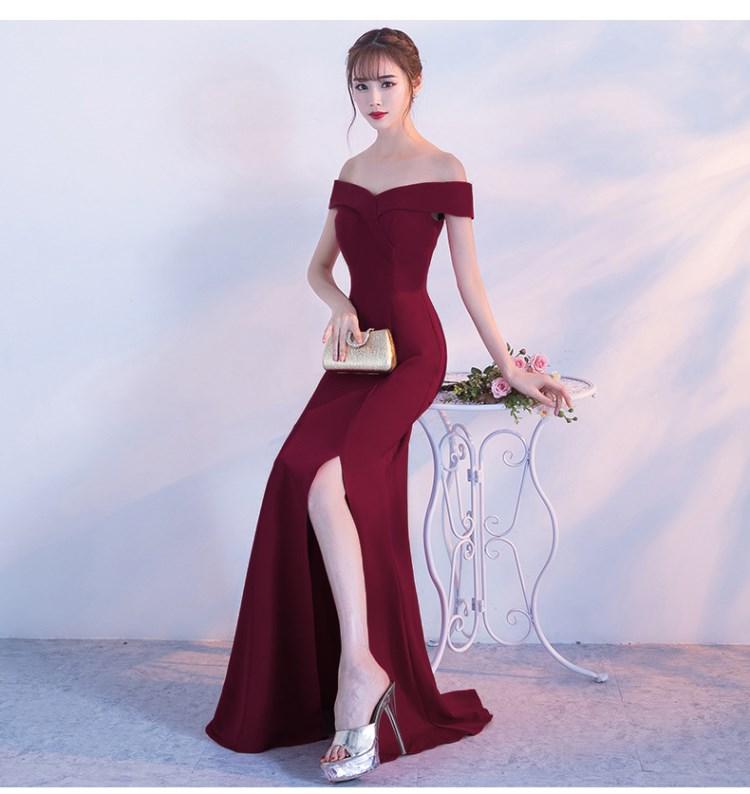 Image 3 - Off Shoulder Burgundy Evening Dress Girls Wedding Party Dress Prom Gown Dubai Long Zipper Bridal Dresses slit Robe De Soiree-in Evening Dresses from Weddings & Events