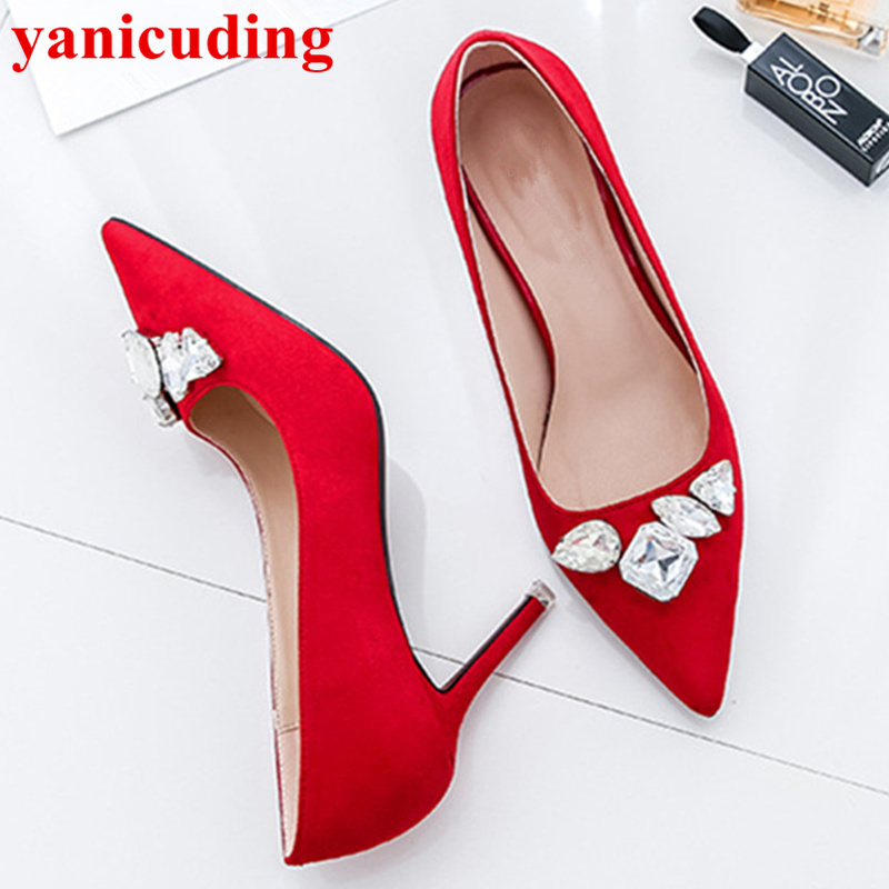 Pointed Toe High Thin Heels Women Shoes Crystal Embellished Shallow Women Pumps Funky Trendy Brand Designer Shoes Zapatos Mujer funky fashion designer