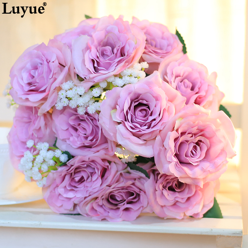 Luyue Artificial Flower 12 Heads/bouquet France Hand Drawn <font><b>Artistic</b></font> Roses Bouquets For Wedding <font><b>Home</b></font> Decor Gypsophila Baby breath