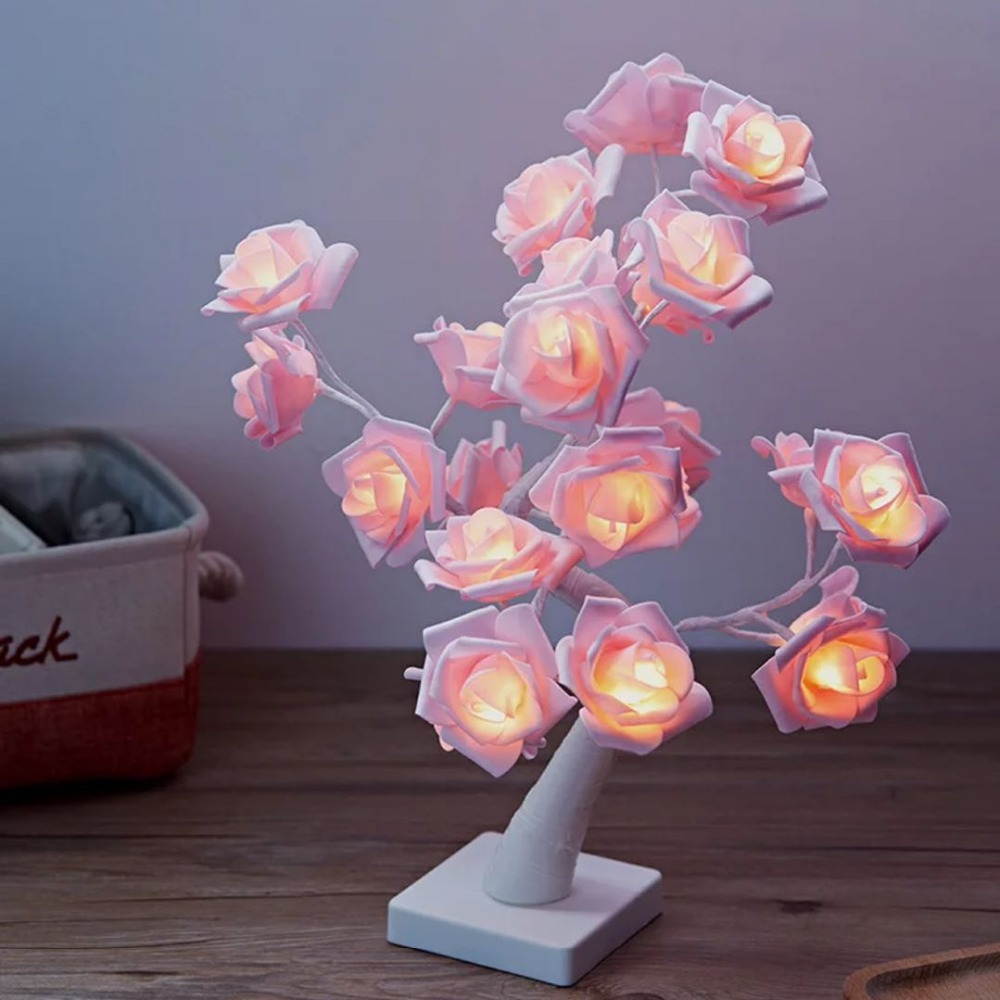 24LED Light Night Lamp Romantic Flower Warm Rose Tree Light Wedding Holiday Decoration