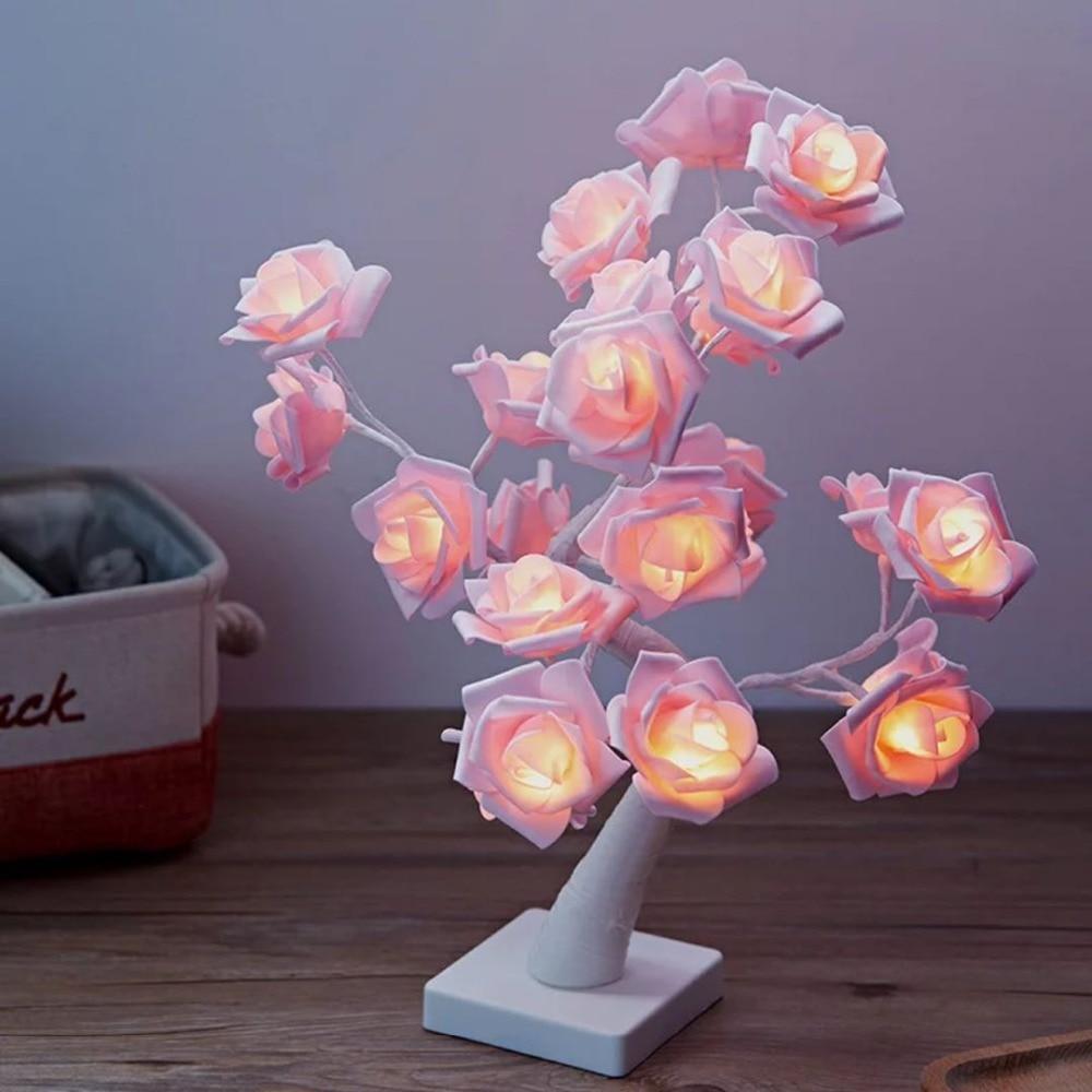 24LED Light Night Lamp Romantic Flower Warm Rose Tree Light Wedding Holiday Decoration