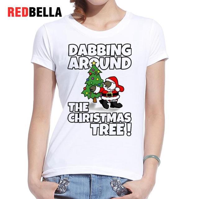 80cd1d287 REDBELLA Women T-shirt Funny Christmas Tee Shirt Kawaii Figure Character  Dabbing Dance Hiphop Poleras De Mujer Printing Casual