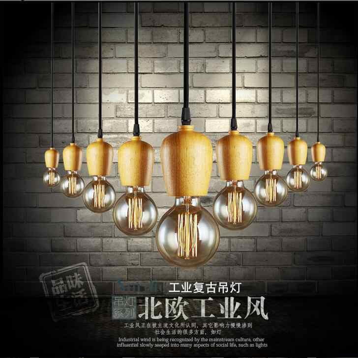 LOFT art led Lampu Liontin dipimpin lampu baru kayu Alami liontin lampu Ruang Tamu lampu E27 led lustre cahaya Liontin lampu