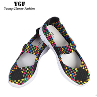 YGF 2017 New Fashion Womens Weave Shoes Spring Breathable Mixed Color Casual Shoes Women Walking Flats