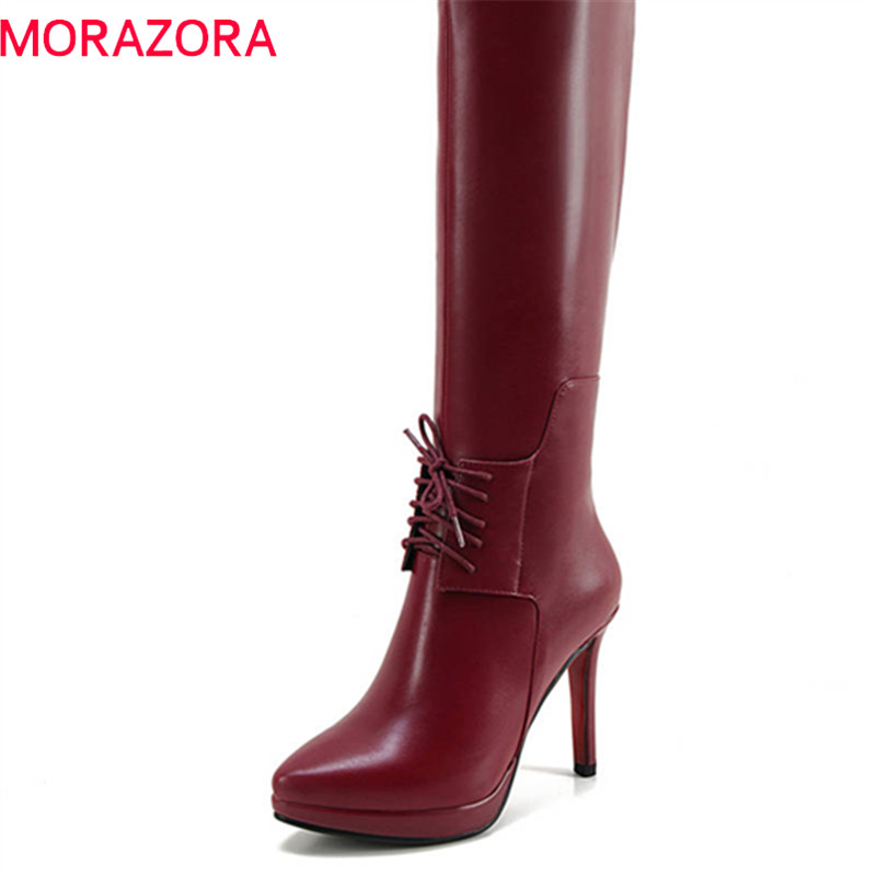 MORAZORA 2018 new arrival pointed toe boots women zipper short plush autumn winter knee high boots platform high heels shoes morazora new china s style knee high boots flowers embroidery spring autumn boots for women zipper cow suede med heels boots