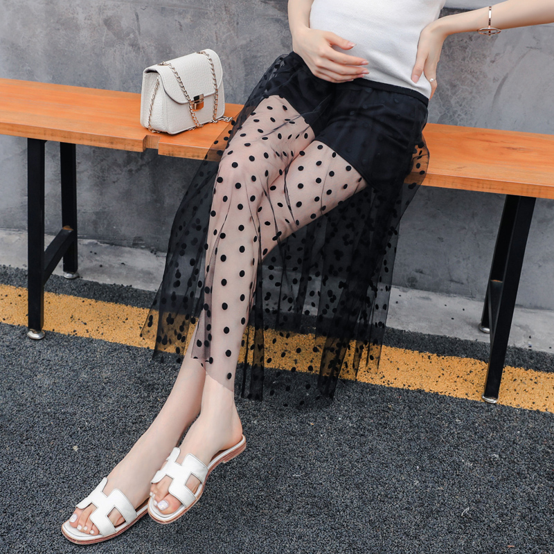 Pengpious pregnant woman polka dot net yarn dress stitching ventral lace safty shorts summer skirts maternity belly waist skirts