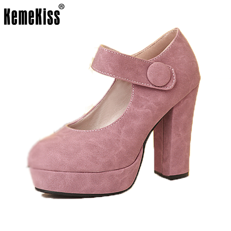 KemeKiss Ladies Platform Fashion High Heels Shoes Women Round Toe Thick Heel Pumps Office Lady Daily Zapatillas Mujer Size 34-39 lady red shoes heels women pumps fashion suede high heels ladies wedding shoes platform round toe sexy footwear g752