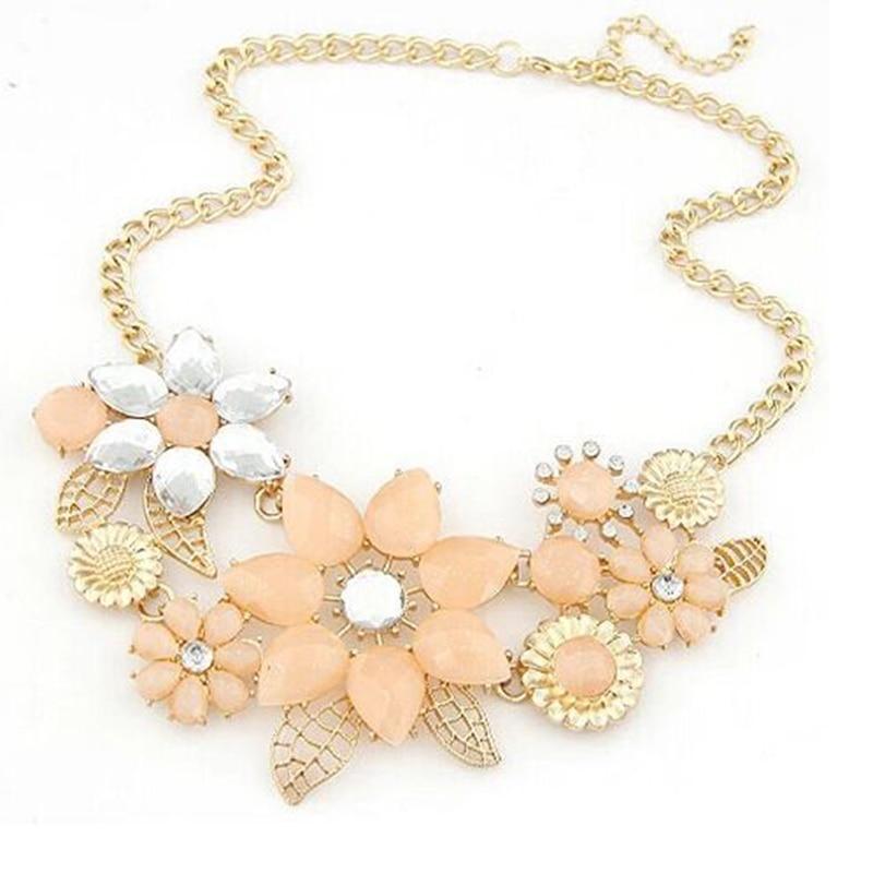 Модный Стиль Изысканный полый желе цвет Листья Металл яркий цветы баугиния цепи ожерелья для мужчин модные украшения для женщин