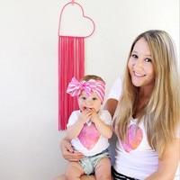 New Summer Mother Women T Shirt Children Heart Color Printing