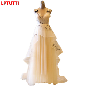 LPTUTTI Embroidery letter New Sexy Vintage Princess Bridal Marriage Gown Bride Simple Party Events Long Luxury Wedding Dresses