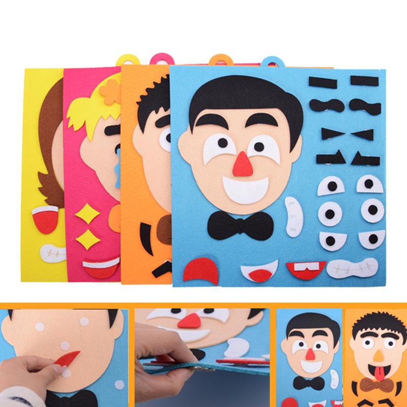 1Set Kids Toy DIY Emotion Change Puzzle Facial Expression Learning Toys For Children S7JN