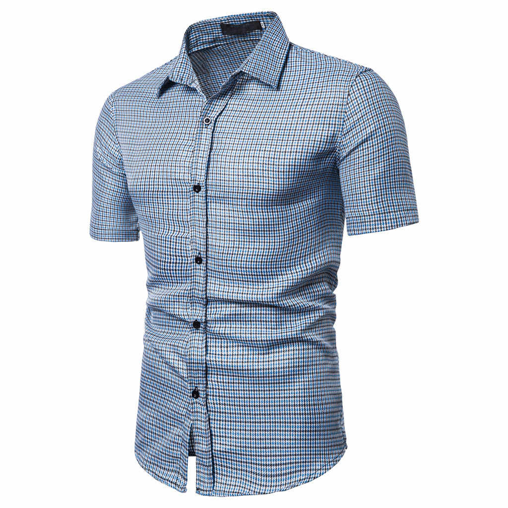 Katoenen Shirt Mannen 2019 Zomer Nieuwe Mannen Shirt Korte Mouwen Slim Fit Chemise Homme Casual Button Down Heren Dress shirts May14