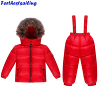 Russian Children Winter Suit Real Fur Warm Clothing Sets Girls Snowsuit Girl Winter Down Coat Kids Flowers Ski Suit Chothes