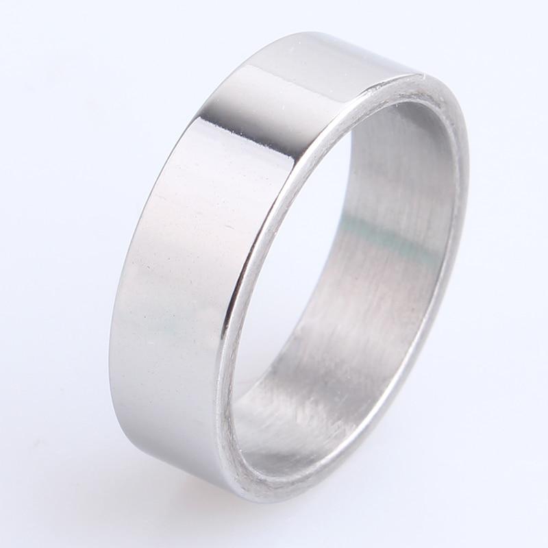 44920d7dc60b Envío libre 6mm placa lisa 316L anillos de acero inoxidable para hombres  mujeres al por mayor