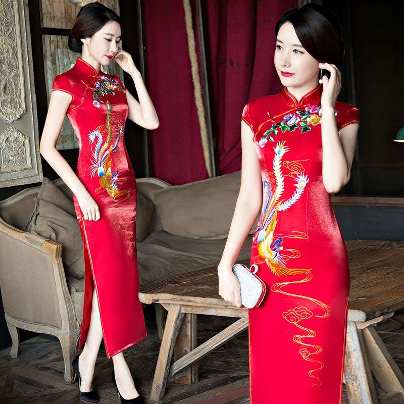 Shanghai Story 2017 New Sale Long Qipao Chinese Women's Clothing Cheong-sam Dress Phoenix Inkjet printing Qipao For Women