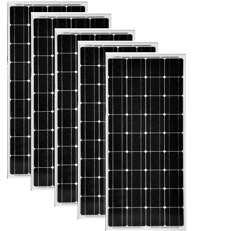placa solar 100w monocristalina 5 pc panneau solaire 500 watt led 12v camping car boat battery