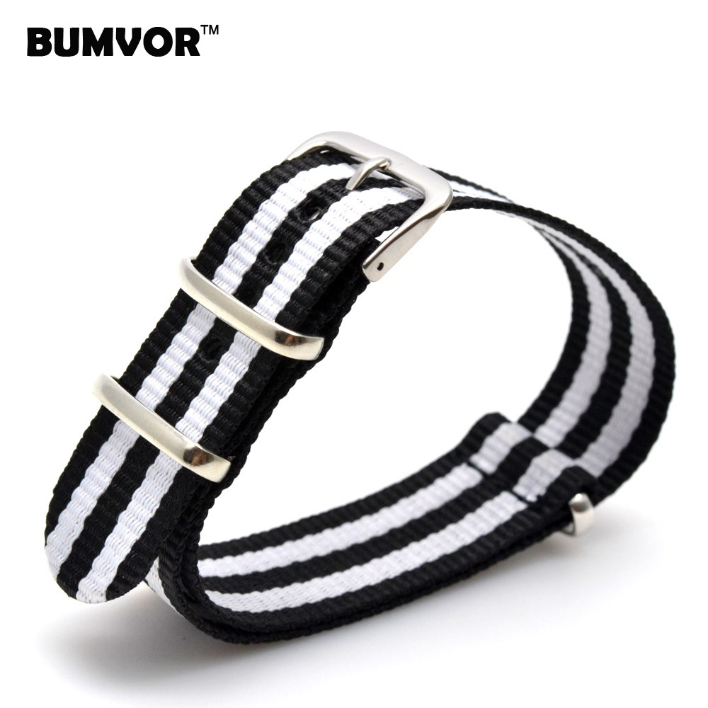 Wholesale 22 mm Multi Color Black White Army Sports nato Nylon watchband Watch Strap Wristwatch Band Buckle fabric belt 22mm