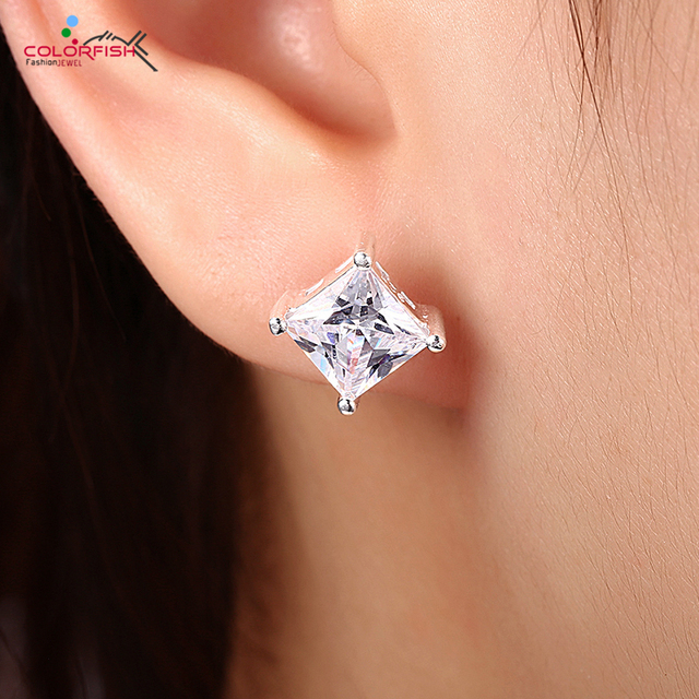 Colorfish Princess Cut 2 Carat Solitaire Stud Earring For Men And Women Fashion Jewelry 8mm Zircon