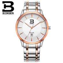 New Wristwatches BINGER business sport men's watch quartz sapphire full stainless steel Water Resistance gold clock BG-0390