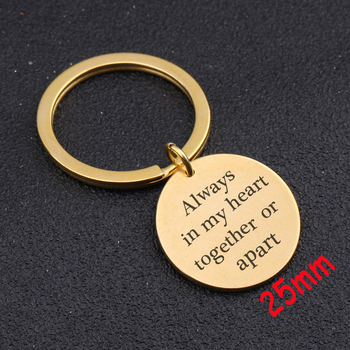 Love Keychain Engraved Always In My Heart Together Or Apart Hand Stamped Jewelry For Lover Couple Gift Charm Key Ring