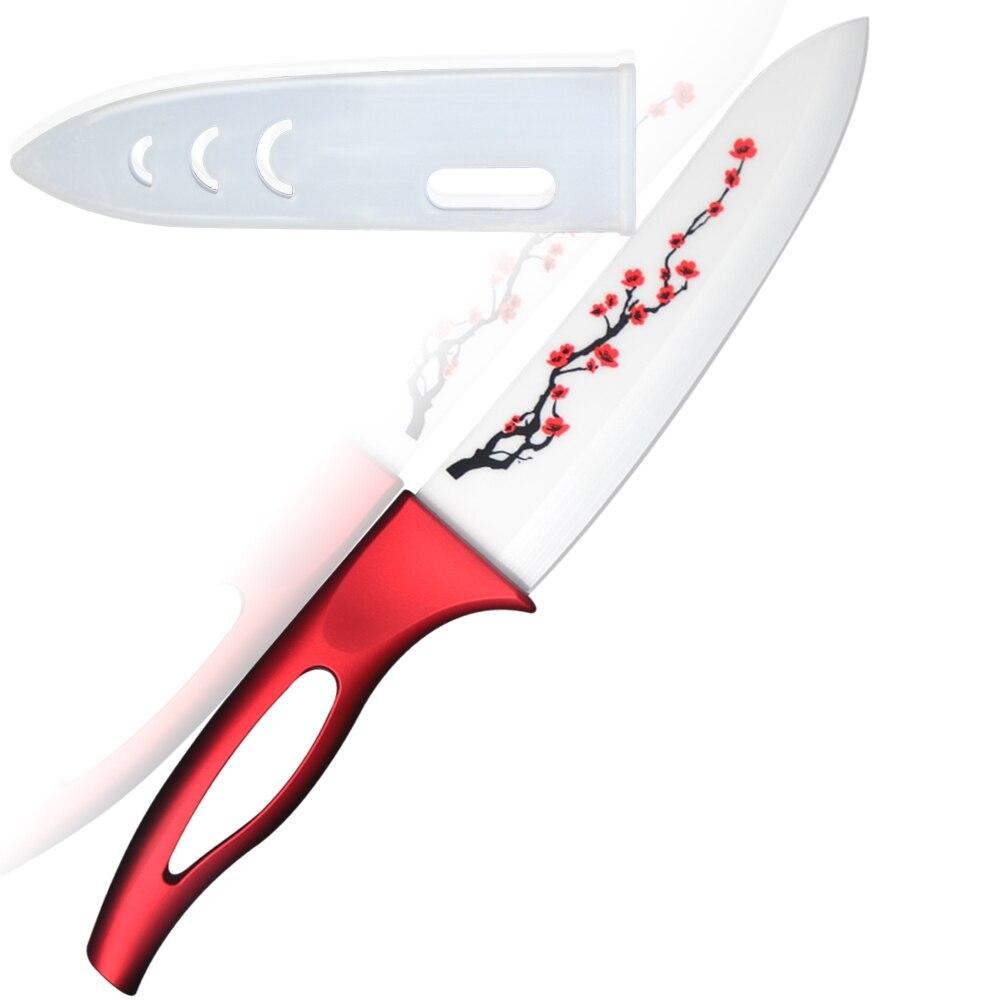 Neue design küchenmesser weiß rote blume 6 zoll chef kochen ...