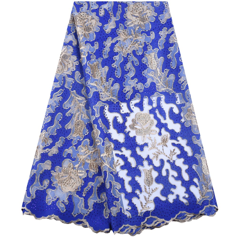 Blue Gold Thread Milk Silk Lace Fabric Latest African Dry Lace Fabric High Quality African Lace
