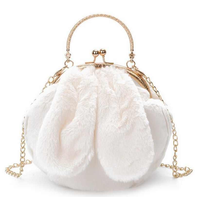 17d8c6f4d365 2019 New Women Plush Rabbit Ear Shell Chain Messenger Bag Fashion Faux Fur Female  Winter Handbag