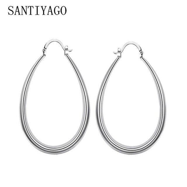 Vintage Hoop Earrings For Women Matte Silver Color Large Oval Wide Creole Hoop  Earrings Hiphop Women Jewelry Earrings 7be32d4dc6