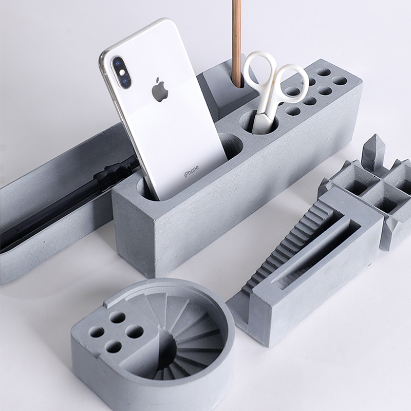 Multi-function Pen Container Holder Concrete Molds Penholder Plaster Silicone Mold For Desk Decor Cement Clay Mould