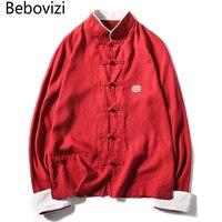 Chinesischen Stil Frühling Baumwolle Leinen Shirts Männer Lange ärmeln Platte Schnalle Tang-anzug Plus Größe 5XL Stickerei Retro Shirt männlichen