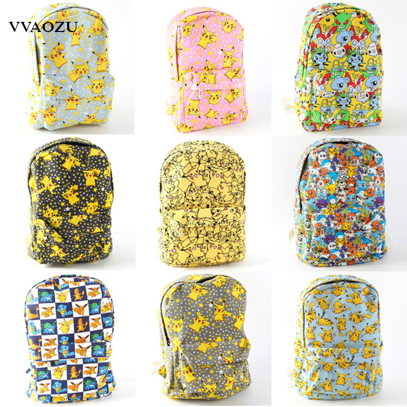 Pokemon Go Unisex Backpack Canvas School Bag Teenagers Cartoon Pikachu Schoolbag Shoulder Rucksack Travel Bags Mochila 9 Styles japan pokemon harajuku cartoon backpack pocket monsters pikachu 3d yellow cosplay schoolbags mochila school book bag with ears