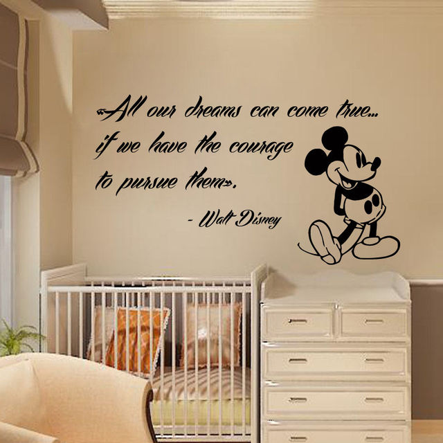 Mickey Mouse Wall Decals Quote Dreams Art Vinyl Sticker Kids Nursery Decor  22inX39in