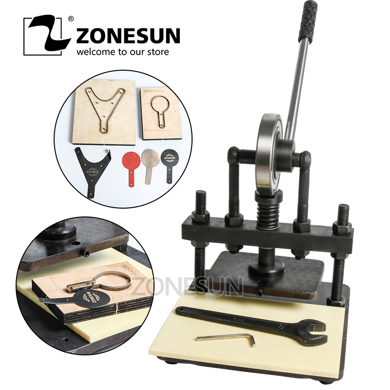 все цены на ZONESUN 20x14cm Hand leather cutting machine photo paper PVC/EVA sheet mold cutter,manual leather mold /Die cutting machine