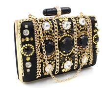 Mini gem diamonds fashion evening bag European style women chains handbag solid black high quality evening bag
