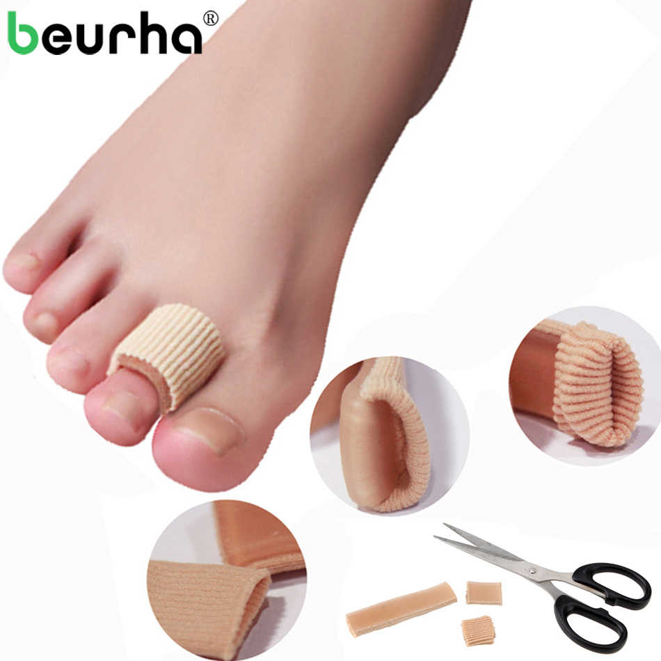 1PC 20*1.8CM Ribbed Fabric Gel Tube Sleeves Cap Cover For Hammer Toe Claw Blister Corns Fingers Seporate Protector Hallux Valgus