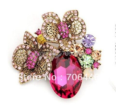 4c5a278790da Estilo antiguo vintage Hot pink rhinestone Crystal diamante flor hermosa  Broches