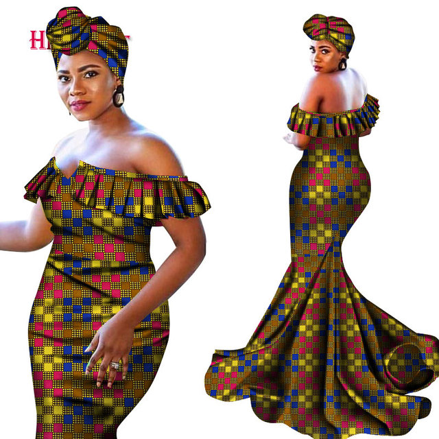 2020 New Bazin Riche african Dresses for Women Sexy V-neck cotton Dresses With Headwrap pluz size Dashiki Women Clothing WY4672