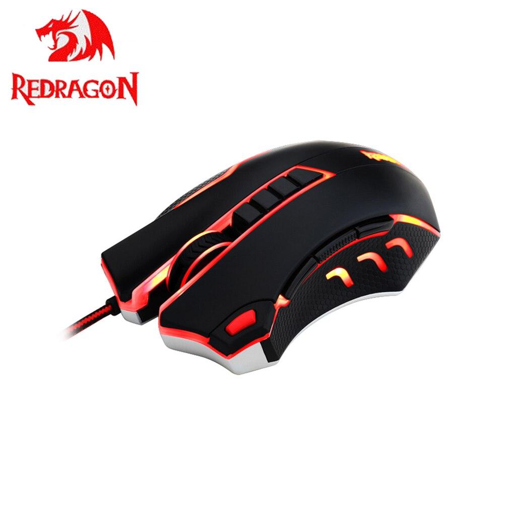Redragon ratón 10 botones 4000 dpi de alta precisión Gaming ratones 1000Hz Tasa de votación modos de memoria ratón para pc gamer