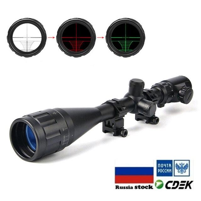 6-24X50 AOE Riflescopes Hunting Red Green illuminated Crosshair Reticle Rifle Scope Riflescope Luneta Para Rifle Caza