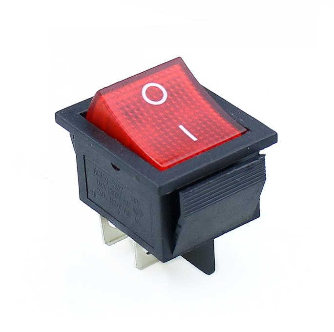 KCD4 1 Pcs Diterangi Besar On-Off 4-Pin Rocker Switch-Biru Merah Kuning Hijau 20A 125VAC 16A 250VAC