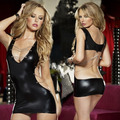 New Women's Sexy Lingerie Set Sexy Tight Bronzing Gel Backpack Hip Leather Dress Uniforms Sexy Nightclub Dance Black Mini-Dress