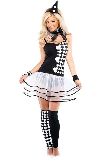 warmgoods sexy halloween costumes sexy cosplay 6pcs black white harlequin clown costume lc8802 new best women fantasia girl cost - Halloween Costumes Harlequin