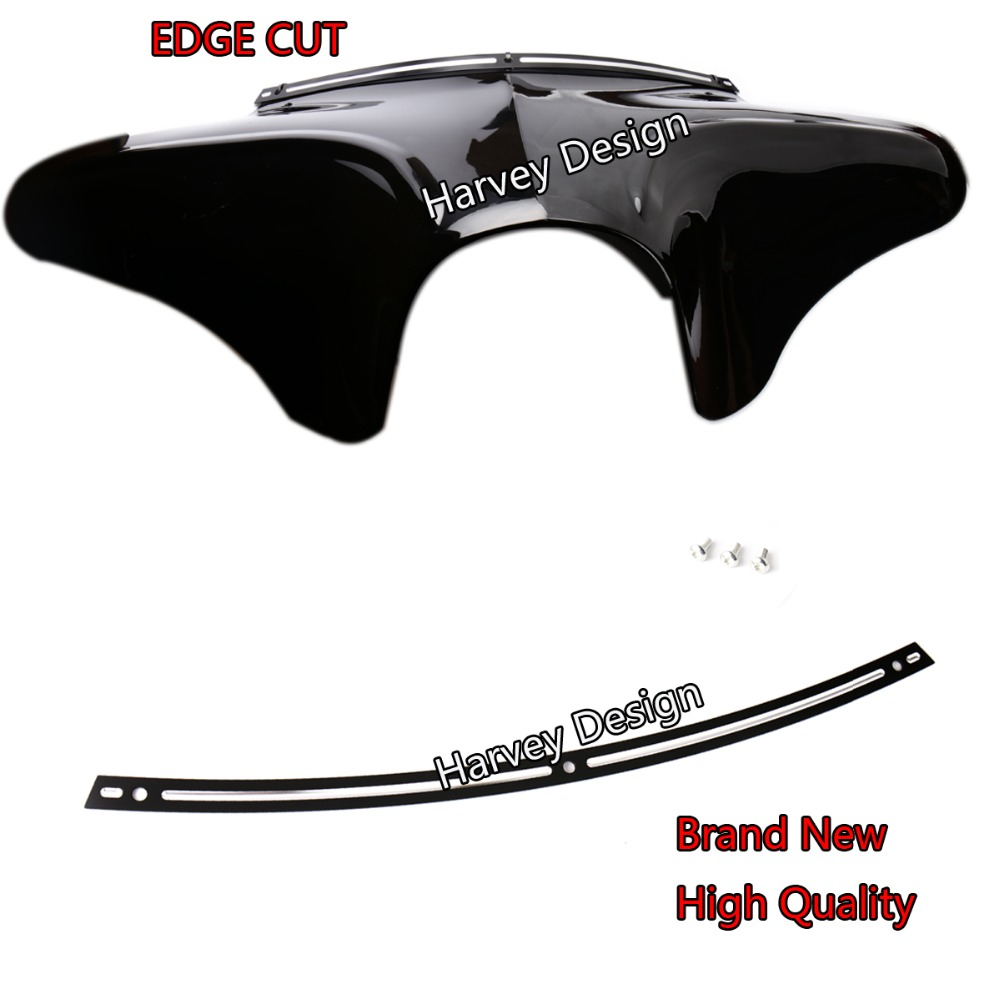 Black Deep Cut Beveled Windshield Trim For 96-13 Harley Touring Street Glide Parts performance machine scallop contrast cut for harley fltr windshield trim 98 13