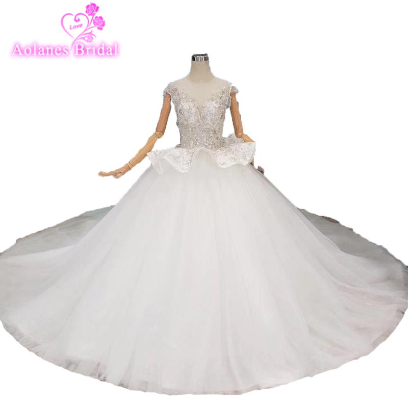 Robe De Mariage Princess Wedding Dress Luxurious Sequins Lace Vestido De Novia Backless See Though Sexy Ball Gown Wedding Dress
