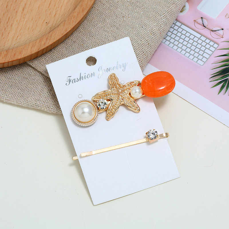 2PCS Ocean Style Starfish Hair Clips Imitation Pearls HairPins Sets Candy Color Crystal Hair Barrettes Clip for Women