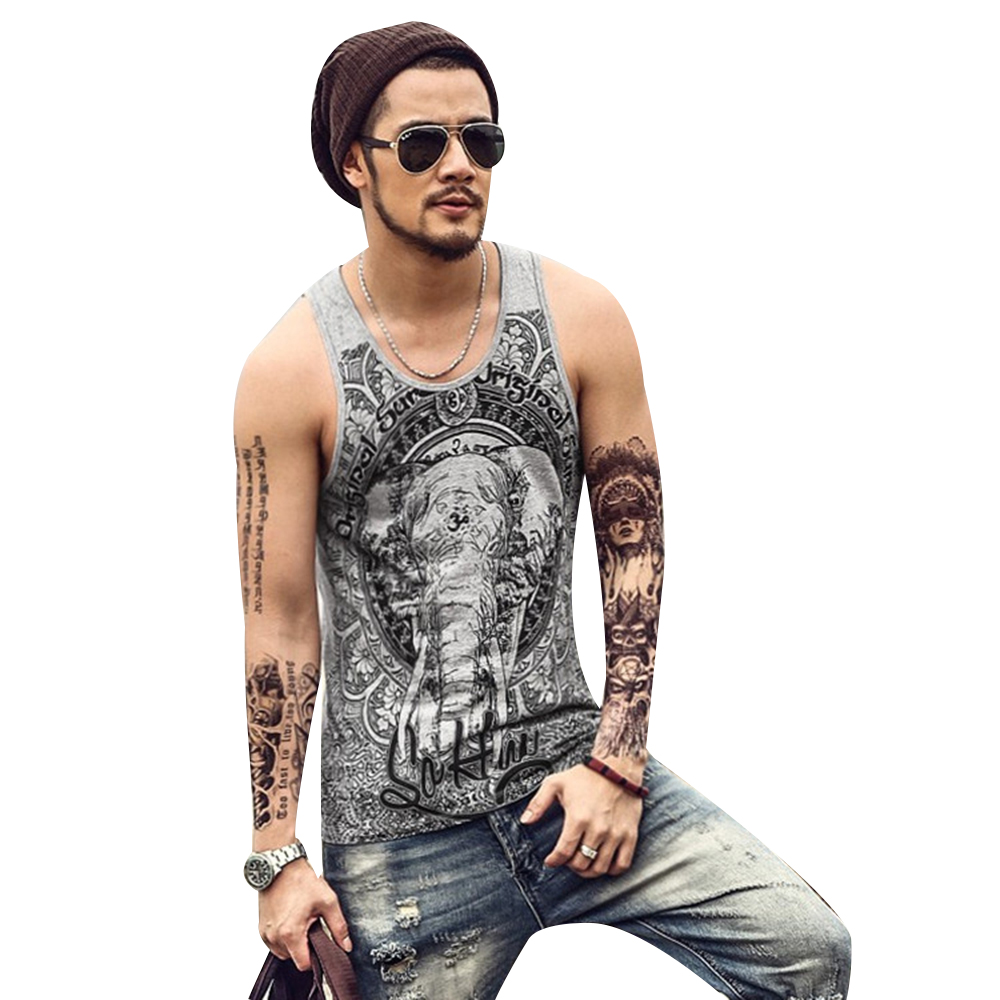 2019 Summer Men Leisure O Neck Vest Sleeveless Print Cotton   Tops   Bodybuilding   Tank     Tops   Slim Fit Tee Male Vest Clothing New D30
