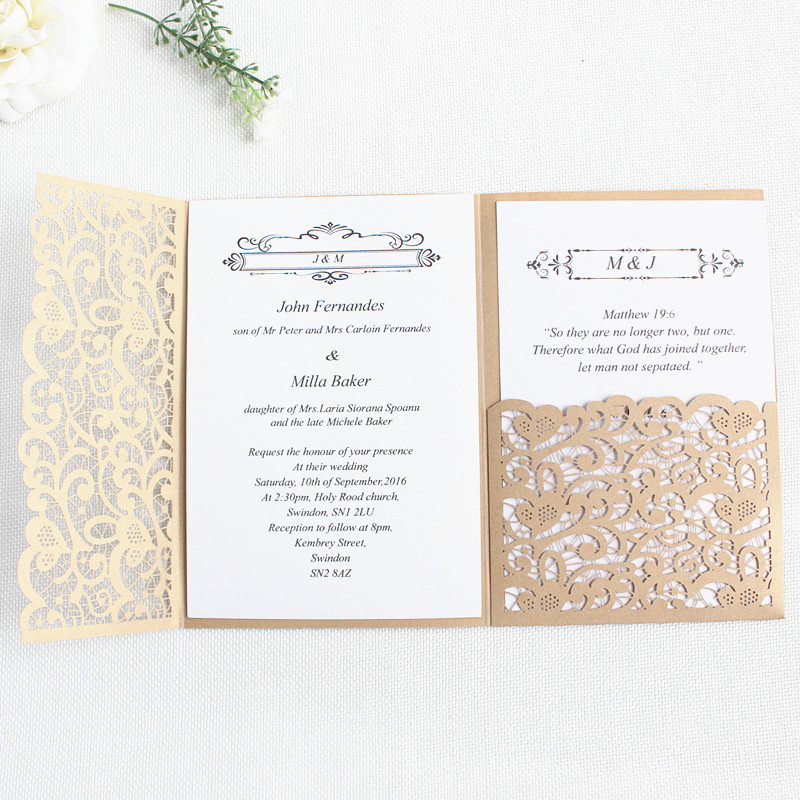 Us 39 0 Wedding Invitations Laser Cutting Gold Navy Blue Burgundy Tri Fold Pocket Customize Business Holiday Greeting Cards In