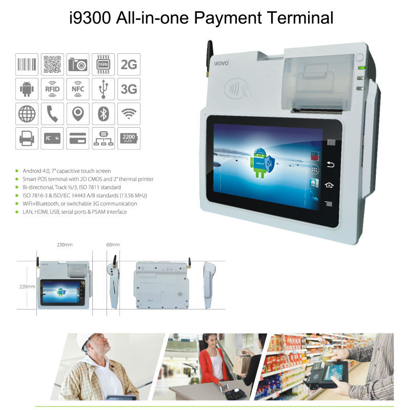 Hot selling i9300 Tablet Android POS system barcode scanner WIFI bluetooth,  credit card Android pda thermal printer-in Scanners from Computer & Office