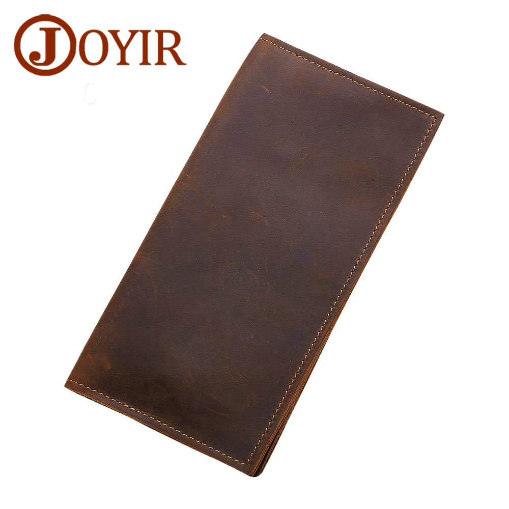 JOYIR Crazy Horse Leather Wallet Men Clutch Long Money Purse Vintage Cowhide Genuine Leather Wallet Male Credit Card Holder Coin